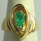 Contempoary Colombian Emerald & Gold Ring 1ct