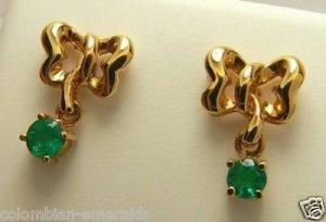 Beautiful! Colombian Emerald & Gold Earrings .30cts 18k