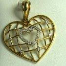 UNIQUE DIAMOND HEART & GOLD PENDANT