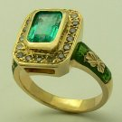 2.01cts Colombian Emerald Enamel & Diamond Ring