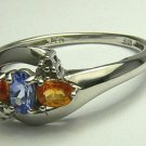 FANTASTIC TANZANITE CITRINE & DIAMOND RING