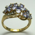 BEAUTIFUL FLORAL DESIGN TANZANITE & DIAMOND RING