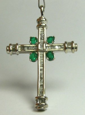"""ONE OF A KIND"" COLOMBIAN EMERALD DIAMOND CROSS"