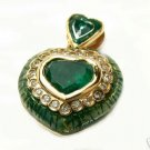 COLOMBIAN EMERALD HEART & ENAMEL PENDANT 2.80 CTS
