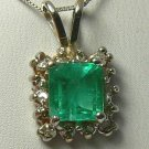 TIMELESS COLOMBIAN EMERALD & DIAMOND PENDANT 1.50CTS
