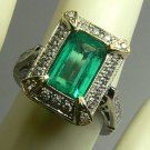 ART DECO INSPIRED COLOMBIAN EMERALD & DIAMOND RING 2.20