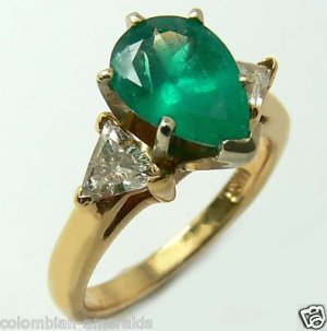 Gem Quality Emerald Pear & Diamond Ring 1.80cts
