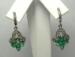Lovely! Colombian Emerald & Diamond Dangle Earrings 1ct