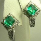 GLEAMING COLOMBIAN EMERALD & DIAMOND EARRINGS 2.10CTS