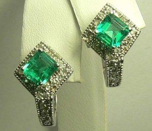 GLEAMING COLOMBIAN EMERALD & DIAMOND EARRINGS 2.10CTS
