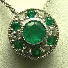 Mesmerizing Colombian Emerald Circular Pendant 2.20tcw