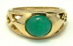 1.20cts Oval Colombian Emerald Cabochon & Gold Ring