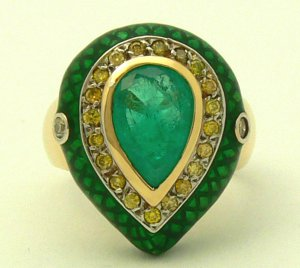 Fab! Colombian Emerald Enamel & Diamond Ring 3.20cts