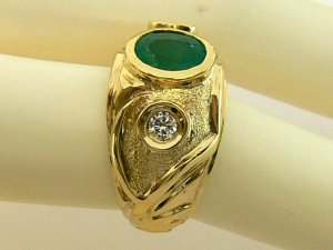 1.40tcw Handsome! Colombian Emerald & Diamond mens Ring 14k