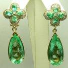25tcw Diva-Esque! Colombian Emerald & Diamond Chandelier Custom Earrings 14k