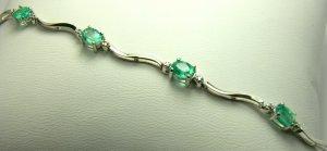 3.0tcw Elegant! Oval Colombian Emerald & Gold Tennis Bracelet 10k