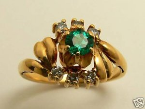 NATURAL COLOMBIAN EMERALD & DIAMOND RING .25CTS