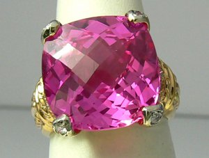 Gorgeous! Pink Topaz & Diamond Ring 12cts