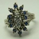 BEAUTIFUL ANTIQUE DIAMOND & SAPPHIRE RING 14K