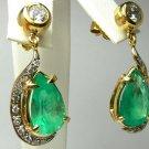 12.0cts Divaesque! Custom Colombian Emerald & Diamond Earrings 14k