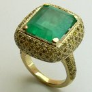 15.55tcw Awe Inspring! Colombian Emerald & Canary Diamond Cocktail Ring 14k