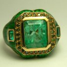 Colombian Emerald Diamond & Enamel Ring 5.12cts