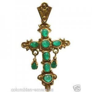 COLOMBIAN EMERALD CROSS 14K REPLICA FROM THE ATTOCHA