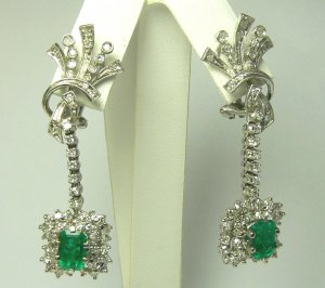 6.80tcw Radiant Art Deco Colombian Emerald & Diamond Chandelier Earrings
