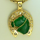 35.20tcw Giddy Up! Colombian Emerald Horsehead & Diamond Horseshoe Pendant 18k