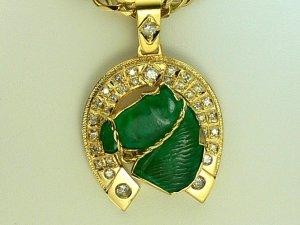 35.20tcw Giddy Up! Colombian Emerald Horsehead & Diamond Horseshoe Pendant 18k