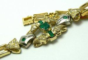 2.20tcw Historic! Unique~Colombian Emerald & Diamond Link Bracelet 14k