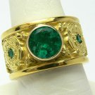 1.10tcw Magnificent! Colombian Emerald & 18k Custom Ornate Gold Ring