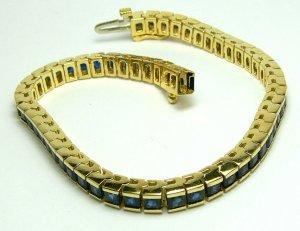 15.0cts Red Carpet Ready! Princess Cut Blue Sapphire Line Tennis Bracelet 14k