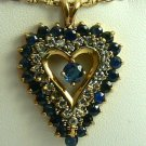 COLORFUL DIAMOND & SAPPHIRE HEART PENDANT