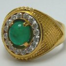 3.50tcw Masculine! Colombian Emerald Cabochon Diamond & 23k Yellow Gold Ring