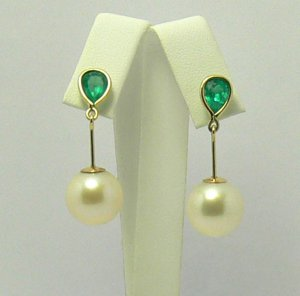 Holiday Party Ready! Colombian Emerald & South Sea Pearl Dangle Earrings 14k