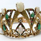 Vintage Emerald, Diamond, Enamel Opal, Crown Themed Bracelet