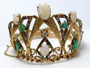 Vintage Emerald, Diamond, Enamel Opal, Crown Themed Bracelet