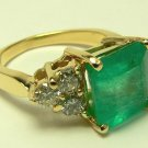 5.20tcw Heart Stopping! Classic Colombian Emerald & Diamond Cocktail Ring 14k