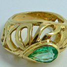 2.0cts Ornate! Pear Shaped Colombian Emerald & Custom Gold Ring 14k