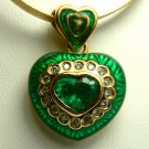 1.50tcw Fantastic! Colombian Emerald Heart Diamond & Enamel Pendant 14k
