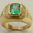 2.70tcw Handsome! Colombian Emerald & Diamond Mens Ring 14k