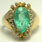 4.80cts Tempting Pear Shaped Colombian Emerald & Gold Ring