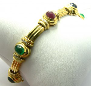 12cts Classic Oval Cabochon of Ruby Sapphire Emerald & Diamond Bracelet