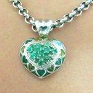 2.85tcw Glamorous! Colombian Emerald Pave & Enamel Heart Pendant~ Custom!