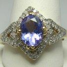 OVAL TANZANITE & DIAMOND RING 14K YELLOW GOLD 1.80 CTS