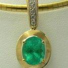 3.40cts Dreamy! Colombian Emerald Gold & Diamond Pendant 14k