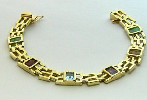 7.20tcw Decadent! Multi Gemstone Gold Link Bracelet 14k