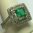 "1.60tcw The "" I Do"" Colombian Emerald & Diamond Engagement Ring"