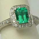 "1.25cts ""Princess"" Colombian Emerald & Diamond Pave Ring 14k White Gold"